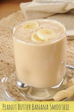 A vanilla yogurt smoothie with peanut butter and banana